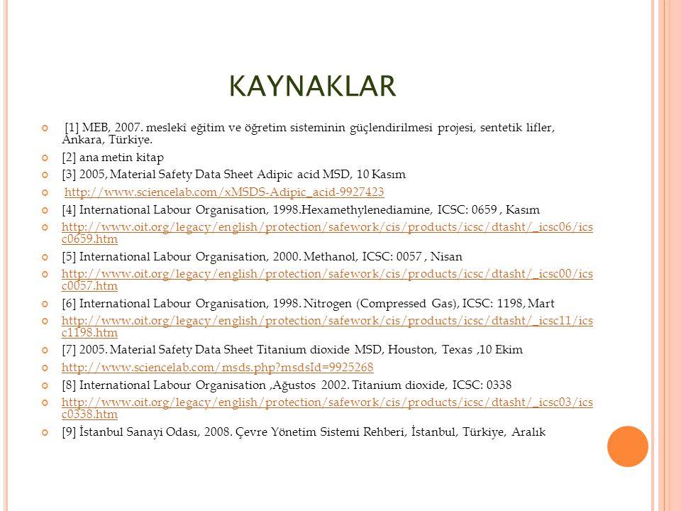 KAYNAKLAR [1] MEB, 2007. meslekî eğitim ve öğretim sisteminin güçlendirilmesi projesi, sentetik lifler, Ankara, Türkiye.
